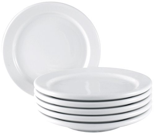 ITI Brighton Ceramic Small Dinner Side Plates with Pan Scraper, Pure White (6-Pack, 5.50 Inch) (Ceramic Microwave Plate compare prices)