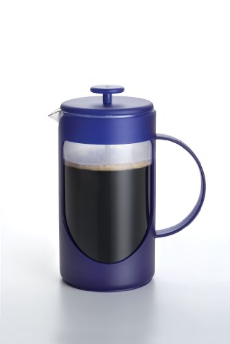 BonJour Coffee Unbreakable Plastic French Press, 12.7-Ounce, Ami-Matin(tm), Blue
