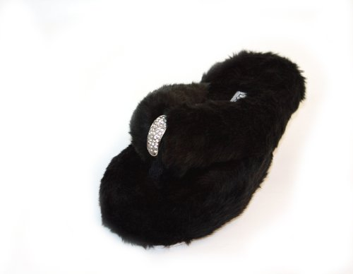 Cheap Luckers Women's Black Fur Slippers (B0094K8SEM)