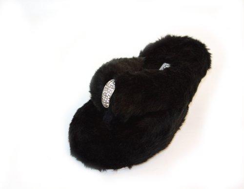 Cheap Luckers Women's Black Fur Slippers (B0094K8SEM)