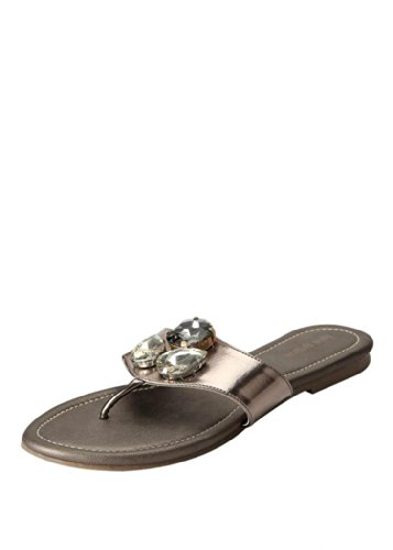 Blue Button Blue Button Women's Brown Synthetic Leather Silver Flats