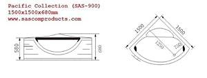 CORNER WHIRLPOOL BATH TUB JACUZZI POOL SPA BATHROOM 1500 x 1500mm SAS-900