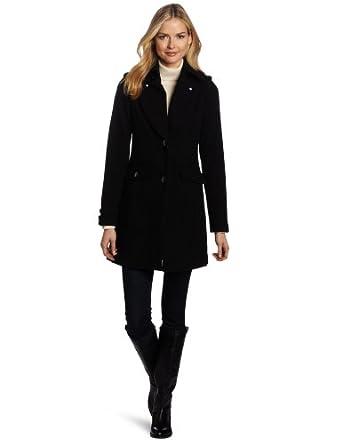 Kenneth Cole New York Women's Melton Coat 3/4 Length, Black, 10