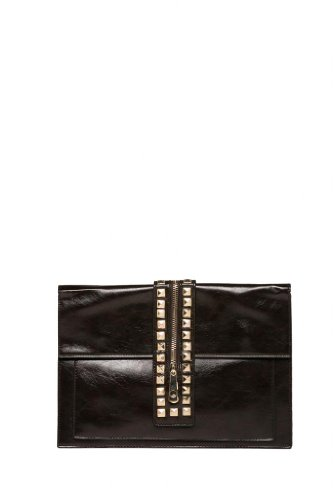 Via by Vieta Rocker Chic Center Strip Studded Clutch Purse Handbag Cross body, Colors Available