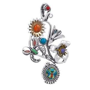 Southwest Spirit Native American Designer Mixed Metal Multi-Gemstone Collaborative Pendant Enhancer