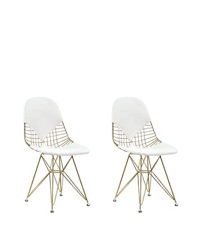 Meelano M245 Chair in Gold and White Vegan Leather (Set of Two)