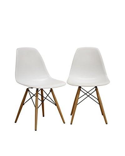Baxton Studio Set of 2 Azzo Plastic Mid-Century Modern Shell Chairs