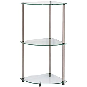 Glass corner shelves for small rooms - Glass corner shelf for living room ...