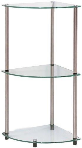 Convenience Concepts 157006 Go-Accsense 3-Tier Glass Corner Shelf, Clear Glass