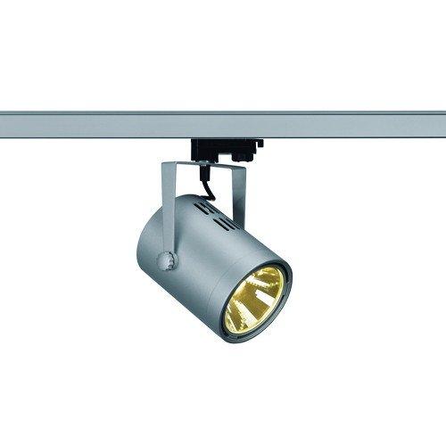 SLV 3-Phasen Strahler Eurospot LED, 21W, COB, 3000 K, 36 Grad, inklusiv Adapter, silbergrau 153814
