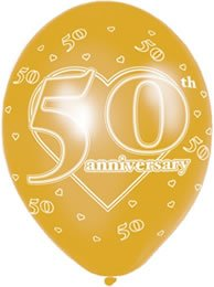 11 Inch Latex Balloons 50th Anniversary (PK 6)