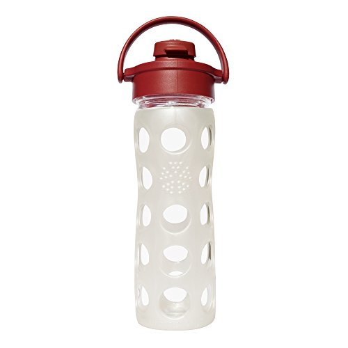 Lifefactory 16-Ounce BPA-Free Glass Water Bottle with Flip Cap & Silicone Sleeve, Winter White/Red (Sports Water Bottle Flip Cap compare prices)