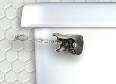 Functional Fine Art Chrome Guitar Decorative Toilet Flush Handle / Tank Trip Lever - Front Tank Mount