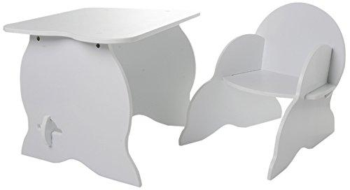 530020 Kindertisch und -stuhl, Holz/MDF, Weiß