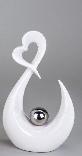 Moderne Herz Skulptur Deko Objekt aus Keramik weiß/silber Höhe 29 cm thumbnail