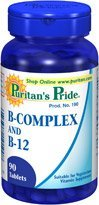 Puritan's Pride Vitamin B Complex and Vitamin B12 90 Tablets 6 Bottles