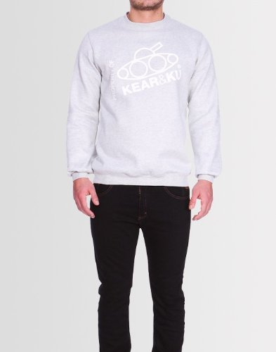 Kear and Ku Mens Slant Sweatshirt Grey : Light Marl Grey - Xxl