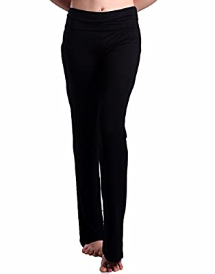 HDE Women's Fold Over Waist Yoga Lounge Pants Flare Leg Workout Leggings