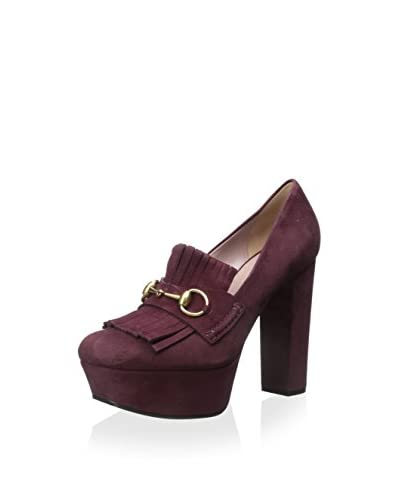 Gucci Women's Loafer with Heel  [Burgandy]