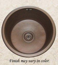 "Herbeau 4307-61 ""Saone"" Round Bowl, Hammered Weathered Copper Sink"