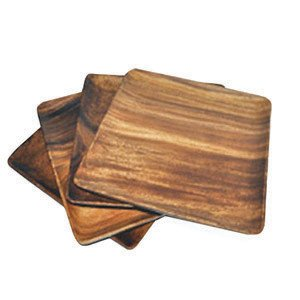 Pacific Merchants Trading Acaciaware 7-Inch Acacia Wood Square Plate, set of 4 (Plate Wood compare prices)
