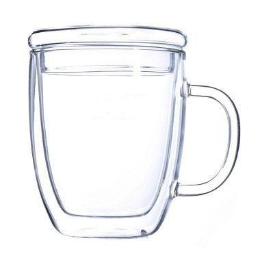 ZIMEI Nuovo doppio isolamento alta boro silicio vetro mug, tazzine di calore innovativi con coperchi 475ml , 1 set