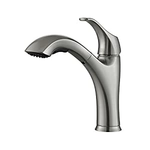 Kraus KPF-2250 Single Lever Pull-Out Kitchen Faucet, Stainless Steel, Amazon Exclusive from Kraus