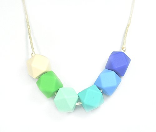 "Silli Me Jewels: ""Sea Breeze""- Teething Chewable Necklace with Multi-Colored Beads for Mom to Wear and Baby to Chew - 1"