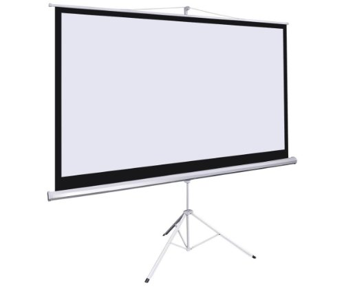 Giantex 100″ 16:9 Manual Projection Screen Pull Down Tripod Projector Matte White Stand