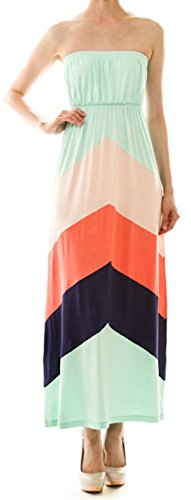 Always Mint, Coral & Navy Chevron Colorblock Tube Maxi Dress Size Small