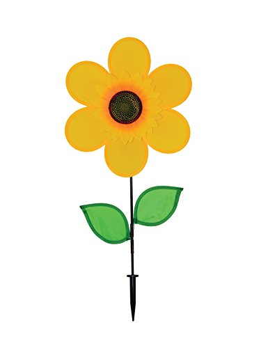 In the Breeze Sunflower Spinner with Leaves, 12-Inch
