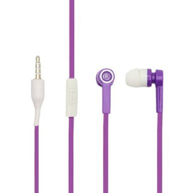Importer520 Bullet Noodle Flat Cord Handsfree Stereo Earphones Earbuds With Microphone For Nokia Lumia Elvis 1020 - Purple+White