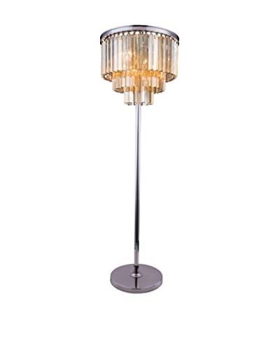 Urban Lights Sydney 8-Light Floor Lamp, Polished Nickel/Golden Teak