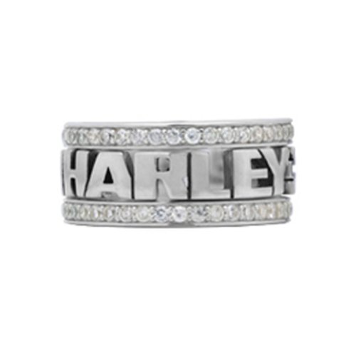 Harley-Davidson .925 Silver Women'S S White Cz Stones Stacking Ring (7)