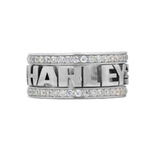 Harley-Davidson .925 Silver Women'S S White Cz Stones Stacking Ring (7)