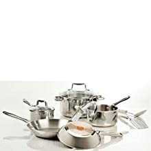 T-Fal Performance Stainless Steel Copper Bottom Cookware 10 Piece Set