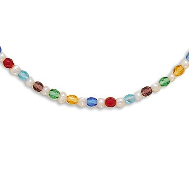 13 + 2 Inch Extension Multicolor Glass and Cultured Freshwater Pearl Necklace