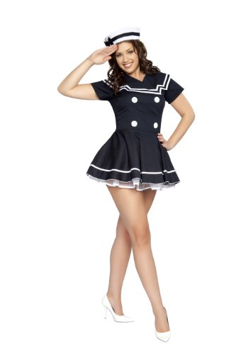 Roma Costume 2 Piece Pin-Up Captain As Shown, Navy Blue, X-Small