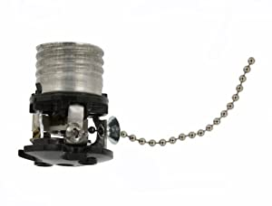Leviton 9814 Incandescent Lampholder, Two Piece Porcelain, Medium Base, Pull Chain with 3 Foot Cord Assembly