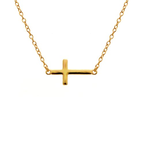 apop nyc 14k Gold Vermeil Mini Sideways Cross Necklace 16 inch - 17 inch