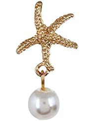 Fayon Weekend Casual Golden Star Fish With Pearl Ear Cuff For Single Ear