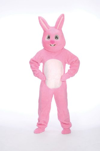 Pink Easter Bunny Suit with Mascot Head Adult Costume Size 46 Medium