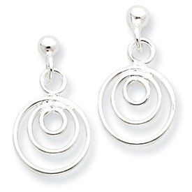 Sterling Silver Multi Ring Post Dangle Earrings