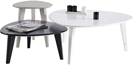 Demeyere 107118 Set de 3 Tables Basses Blanc/Gris/Noir