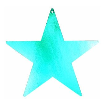 star foil cutout 12 inches -turquoise