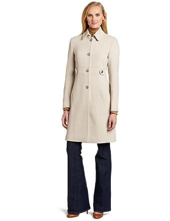 (大降)Calvin Klein CK女士中长款羊毛混纺大衣外套$130.50 Birdseye Side Tab Coat