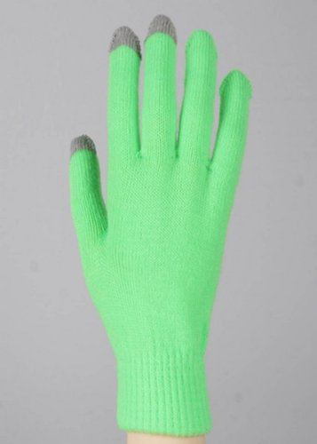 Green Yelete Texting Gloves (One Pair) - Smart Phone Texting Gloves - 1
