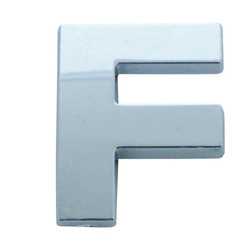 Chrome Look Letter F Car Badge/ Decal - Self Adhesive
