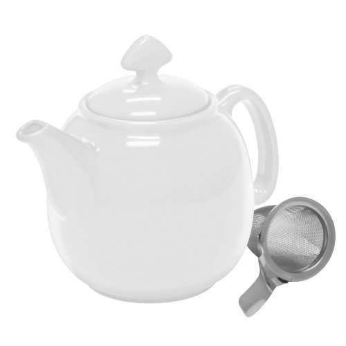 Chantal Tea for 4 Teapot with Stainless Steel Infuser, 1-1/2-Quart, White (White Modern Teapot compare prices)
