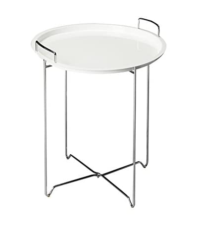 Butler Tray Table, White/Metal